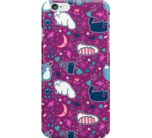 Purple Magical Kitty Pattern iPhone Case/Skin