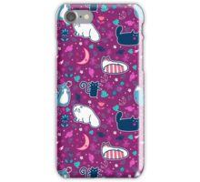 Purple Magical Kitty Pattern iPhone Case/Skin
