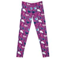 Purple Magical Kitty Pattern Leggings