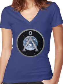Earth Patch Women's Fitted V-Neck T-Shirt