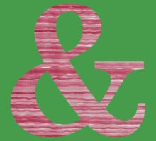 Letter & Ampersand Red Watercolor Stripes Initial Monogram  Kids Tee