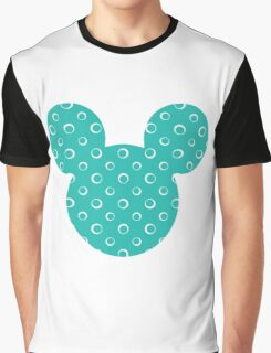 Mouse Turquoise Patterned Silhouette Graphic T-Shirt
