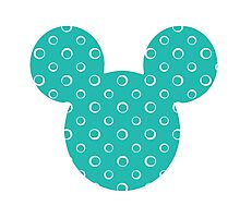 Mouse Turquoise Patterned Silhouette Photographic Print