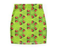 Red ladybugs and green leaves Mini Skirt