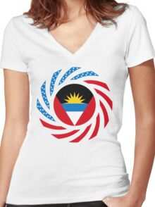 Antigua & Barbuda American Multinational Patriot Flag Women's Fitted V-Neck T-Shirt