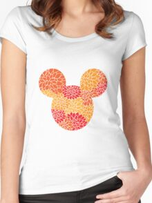 Mouse Floral Sun Coloured Patterned Silhouette Women's Fitted Scoop T-Shirt
