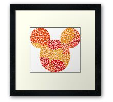 Mouse Floral Sun Coloured Patterned Silhouette Framed Print