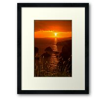 wild atlantic way rocky sunset Framed Print