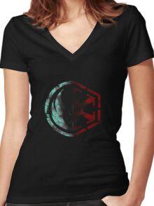 Jedi/Sith Emblem Women's Fitted V-Neck T-Shirt