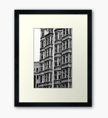 B&W -  Living in San Francisco - Columbus Tower Framed Print