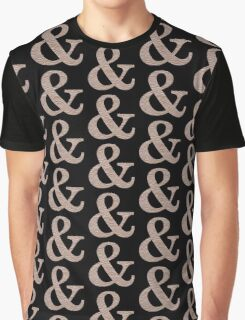 Letter & Ampersand Metallic Look Stripes Silver Gold Copper Graphic T-Shirt
