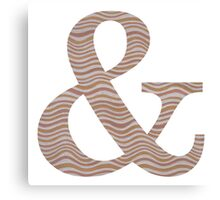 Letter & Ampersand Metallic Look Stripes Silver Gold Copper Canvas Print
