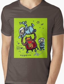 Robot Ape Goes Berserk Mens V-Neck T-Shirt
