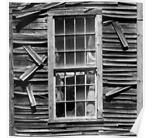 Old Mill Window BW SQ Poster