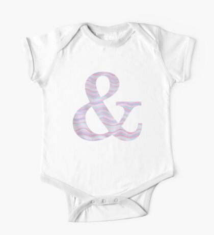 Initial & Ampersand Rose Quartz And Serenity Pink Blue Wavy Lines One Piece - Short Sleeve