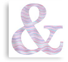 Initial & Ampersand Rose Quartz And Serenity Pink Blue Wavy Lines Canvas Print