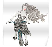 Zentangle Patterned Bike Ride Poster