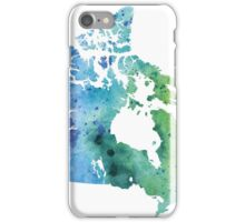 Map of Canada with A Watercolor Texture in Blue and Green iPhone Case/Skin
