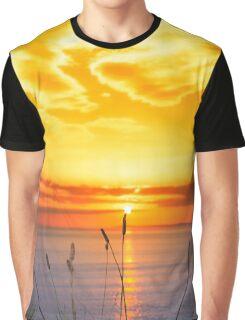 wild tall grass on the wild atlantic way orange sunset Graphic T-Shirt