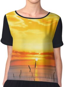wild tall grass on the wild atlantic way orange sunset Chiffon Top