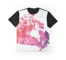 Map of Canada with A Watercolor Texture in Red, Pink, and Purple Graphic T-Shirt
