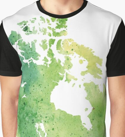 Map of Canada with A Watercolor Texture in Green Graphic T-Shirt