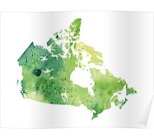 Map of Canada with A Watercolor Texture in Green Poster