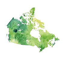 Map of Canada with A Watercolor Texture in Green Photographic Print