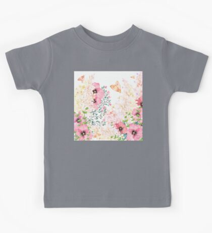 Lush lazy summer afternoon floral watercolor garden Kids Tee