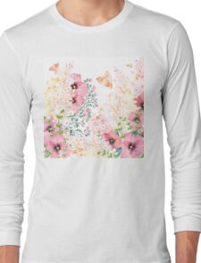 Lush lazy summer afternoon floral watercolor garden Long Sleeve T-Shirt