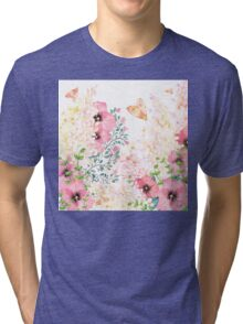 Lush lazy summer afternoon floral watercolor garden Tri-blend T-Shirt