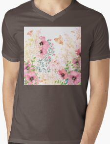 Lush lazy summer afternoon floral watercolor garden Mens V-Neck T-Shirt