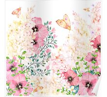 Lush lazy summer afternoon floral watercolor garden Poster