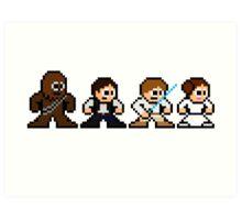 8-bit Chewie, Han, Luke & Leia Art Print
