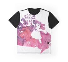 Map of Canada with A Watercolor Texture in Purple and Pink Graphic T-Shirt