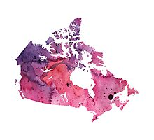 Map of Canada with A Watercolor Texture in Purple and Pink Photographic Print