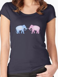 Multicolored Indian Elephant Pattern Women's Fitted Scoop T-Shirt