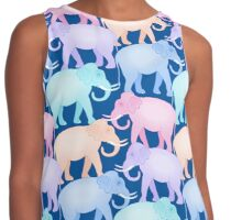 Multicolored Indian Elephant Pattern Contrast Tank