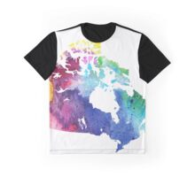 Map of Canada with A Watercolor Texture in Rainbow Colors Graphic T-Shirt