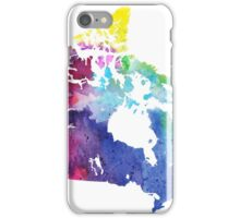 Map of Canada with A Watercolor Texture in Rainbow Colors iPhone Case/Skin