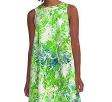 Storm Front Green White Blue Aqua Turquoise Design Designer Bursts Blasts Abstract Yellow  A-Line Dress