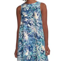 Turbo Turq Design Designer Abstract Blue Aqua Turquoise Bursts White Bursting  A-Line Dress