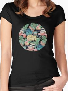 Lazy Afternoon - a chalk pastel illustration pattern Women's Fitted Scoop T-Shirt