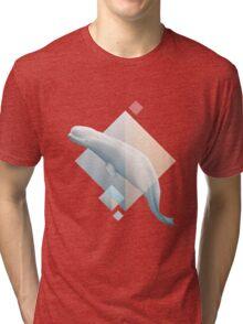 Beluga whale geometric design symbol Tri-blend T-Shirt