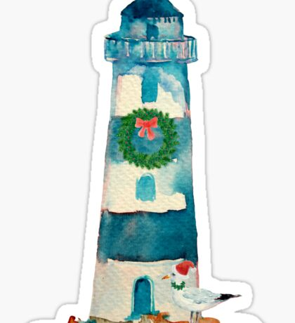 Christmas Watercolor Lighthouse Sticker