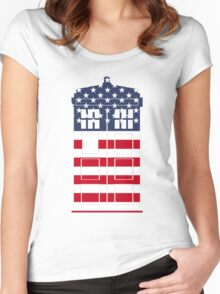Doctor Who: American Flag TARDIS Women's Fitted Scoop T-Shirt