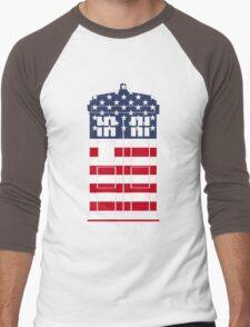 Doctor Who: American Flag TARDIS Men's Baseball ¾ T-Shirt