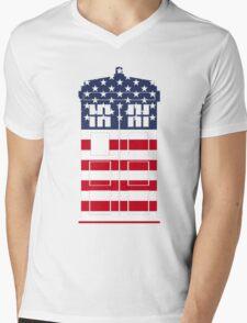 Doctor Who: American Flag TARDIS Mens V-Neck T-Shirt