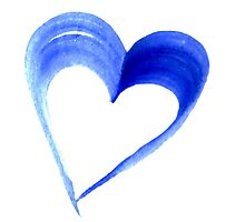 Blue Heart Water Colour Photographic Print
