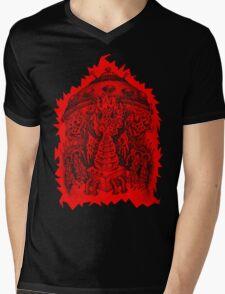 INVADED (red reverse print) Mens V-Neck T-Shirt